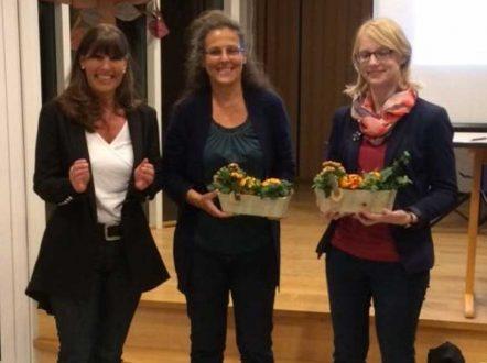 Rektorin Susanne Metz mit den Referentinnen Frau Dr. Siegrist und Frau Waltl
